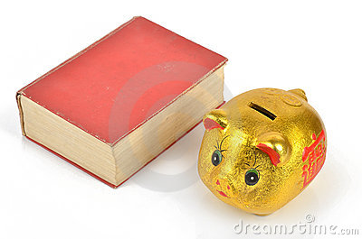 Piggy bank and book