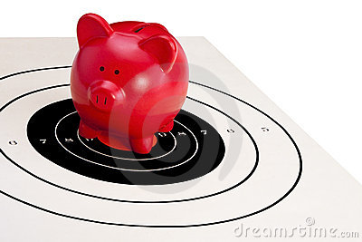 Piggy Bank on Bulls eye (Financial Security)