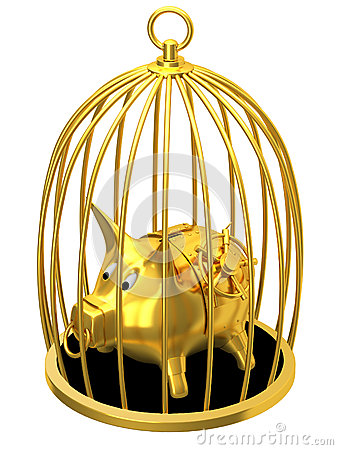 Piggy bank in cage