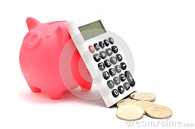 Piggy bank and Calculator and japanese coin.