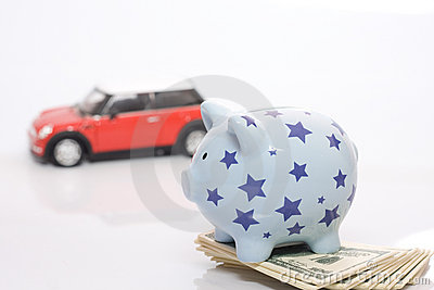 Piggy bank and car