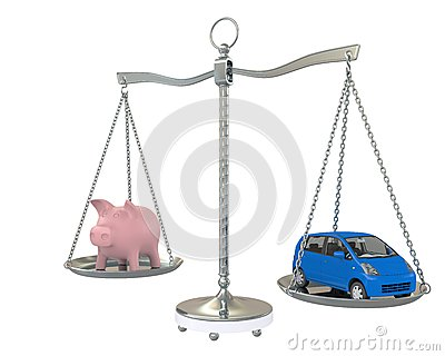 Piggy Bank and car on the scales