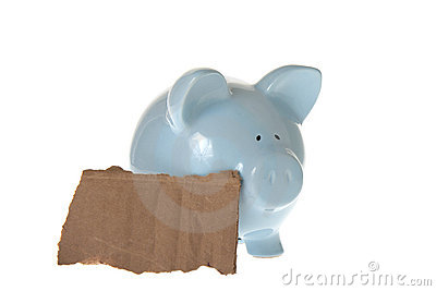 Piggy Bank with cardboard sign