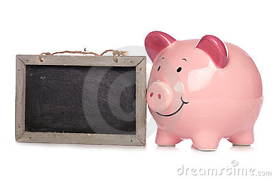 Piggy bank with chalkboard