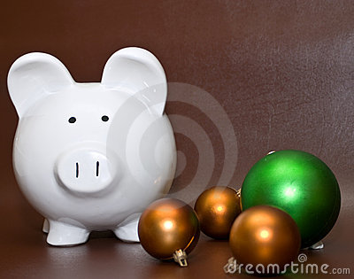 Piggy bank and Christmas balls