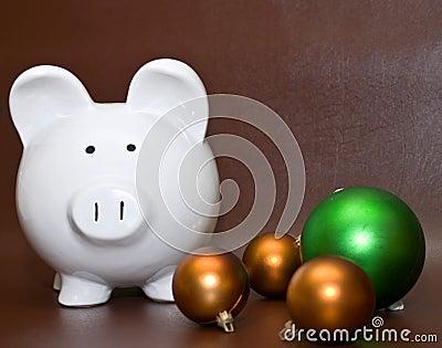 Piggy bank and Christmas balls