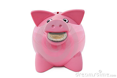 Piggy Bank with a coin in the mouth