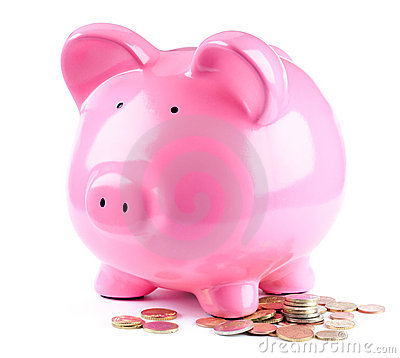 Piggy bank and coins