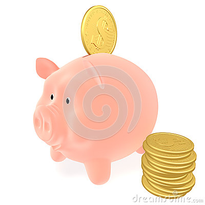 Piggy bank and coins dollar
