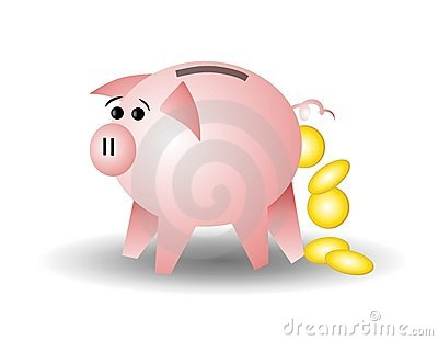 Piggy Bank With Coins Losing Money