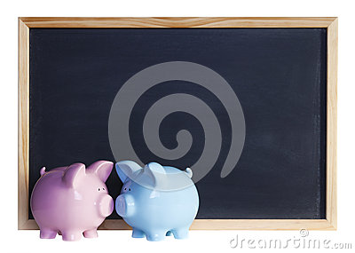 Piggy Bank Couple in Front of Blackboard