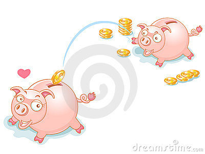 Piggy Bank Couples and falling Money
