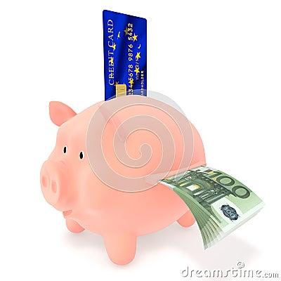 Piggy Bank and credit card EU