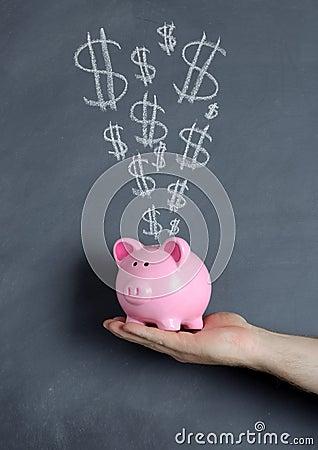 Piggy bank dollar explosion