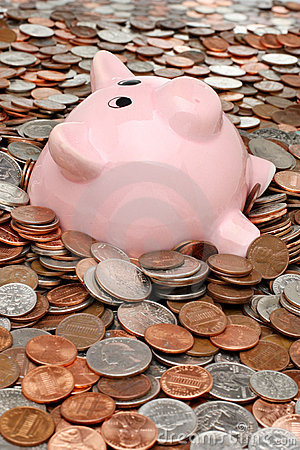 Free Piggy Bank Drowning In Debt Royalty Free Stock Photo - 7449985