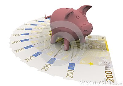 Piggy bank is on the euro
