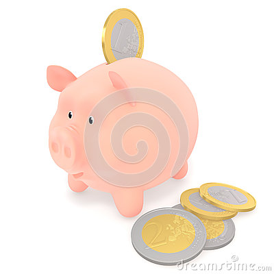 Piggy bank and euro