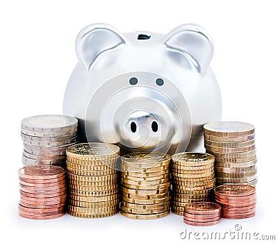 Piggy bank and Euro coins