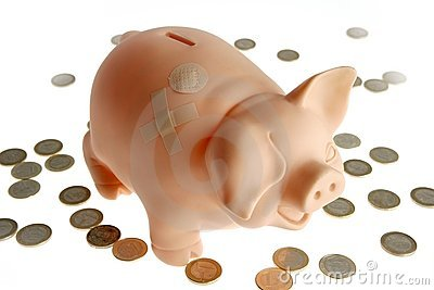 Piggy bank with euro currency