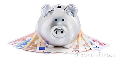 Piggy bank on Euro notes