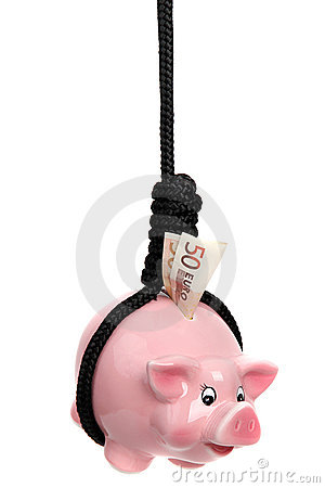 Piggy bank with european banknote and black rope