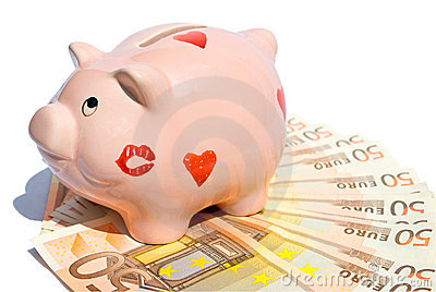 Piggy bank with fifty euro notes