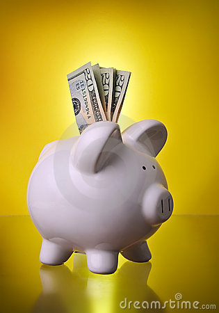 Piggy Bank Financial Investment Savings w/ Money