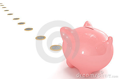 Piggy bank following a coin path