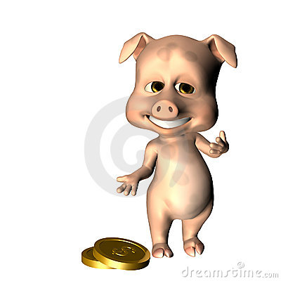 Piggy Bank gesturing at Coins