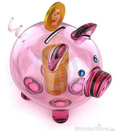 Piggy bank of glass with coins money