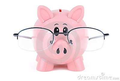Piggy Bank in Glasses - educated piggy bank wearing glasses over white ...
