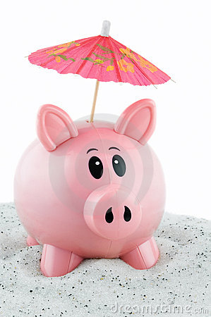 Free Piggy Bank Goes On Vacation Stock Photo - 1850450