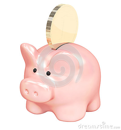 Piggy bank and golden coin