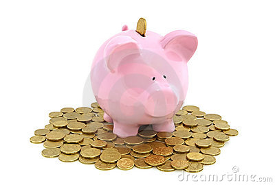 Piggy Bank with golden coins