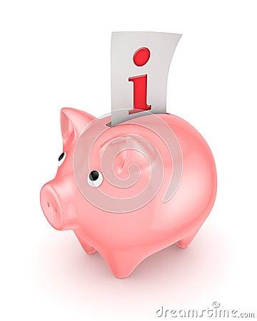 Piggy bank and Info symbol.
