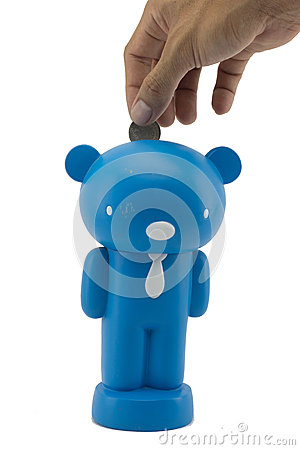 Piggy bank looking up for the coin 8
