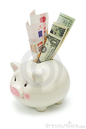 Piggy bank and major world currency notes