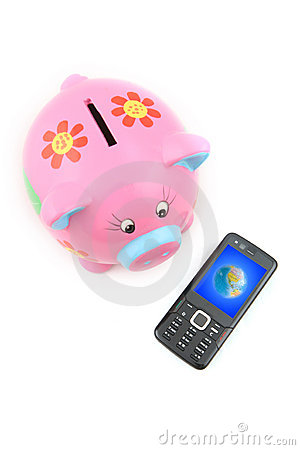Piggy bank and Mobile Phone