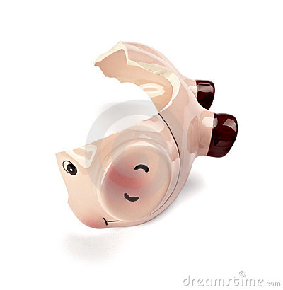 Piggy bank money savings finance broken hammer