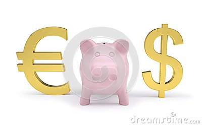 piggy bank next to dollar and euro signs