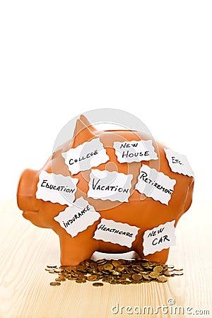 Piggy bank with notes - saving concept