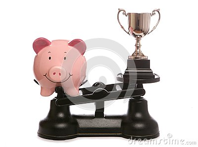 Piggy bank out weighing trophy