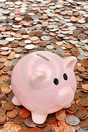 Piggy bank over money business & finance concept
