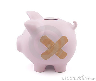 Piggy bank with plaster