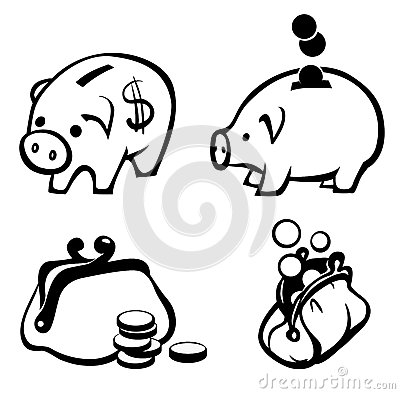 Piggy bank and purse  icons