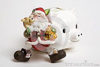 Piggy bank with santa claus
