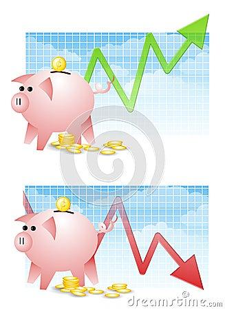 Piggy Bank Savings Up Down