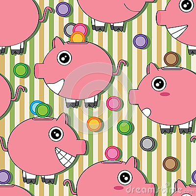 Piggy Bank Seamless Pattern_eps