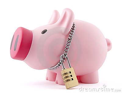 Piggy bank secured with padlock