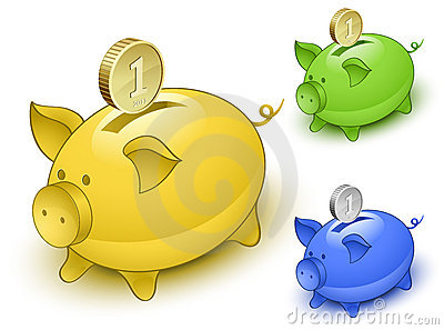 Piggy bank set. Save money concept
